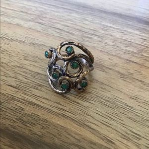 Emerald Green Vine Ring Bronze Tone